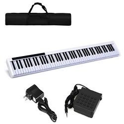 Costzon 88-Key Portable Digital Piano,Weighted Key Piano with External Speaker, Bluetooth Voice  ...
