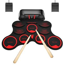M-MASTER 9 Pads Electronic Drum Set, Roll Up Electric Drum Set with Headphone Jack, Built in Spe ...