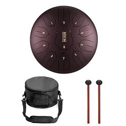 Niome 12 Inch Steel Tongue Drum 11 Notes w/Travel Bag and Mallets,Tank Drum Chakra Drum,Percussi ...