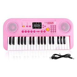 TWFRIC Kids Piano Keyboard, 37 Key Music Keyboard Piano with LCD Screen Display, Portable Electr ...