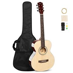 ARTALL 39 Inch Handmade Solid Wood Acoustic Dreadnought Guitar Beginner Kit with Gig Bag, String ...