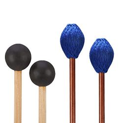 Canomo 1 Pair Medium Hard Yarn Head Marimba Mallets and 1 Pair Rubber Mallets Sticks with Wood H ...