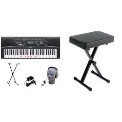Yamaha EZ-220 61-Lighted Key Portable Keyboard Package with Headphones, Stand and Power SupplyYa ...