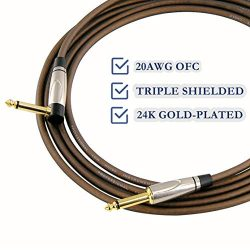 MIMIDI Guitar Cable 10 ft – Guitar Amp Cord 1/4 Inch Right Angle to Straight TS Guitar Cab ...