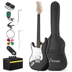 Donner Left Handed Full-Size 39 Inch Electric Guitar Black DST-100BL with Amplifier, Bag, Capo,  ...