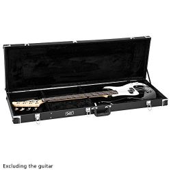 Glarry Grade Electric Bass Guitar Microgroove Hard Case with Extra Neck and Bridge Padding (Black)