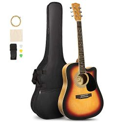 ARTALL 41 Inch Handcrafted Acoustic Cutaway Guitar Beginner Kit with Gig bag & Accessories,  ...