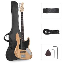 GLARRY 4 String GJazz Electric Bass Guitar Full Size Right Handed with Guitar Bag, Amp Cord and  ...