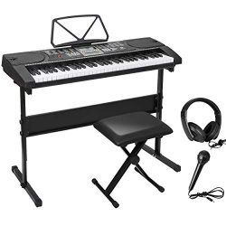 Smartxchoices 61-Key Portable Electronic Keyboard Piano Kit w/Stand, Stool, Headphones, Micropho ...