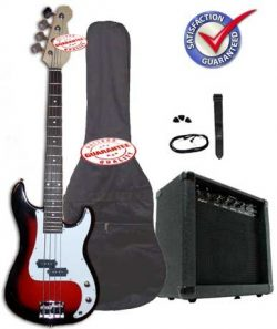 Crescent Electric Bass Guitar Starter Kit – Redburst Color (Includes Amp & CrescentTM  ...