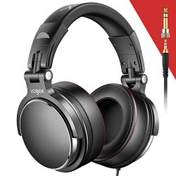 Vogek Over-Ear DJ Headphones, Prefessional Studio Monitor Mixing DJ Headset with Protein Leather ...