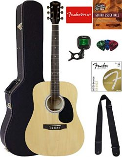 Fender Squier Dreadnought Acoustic Guitar – Natural Bundle with Hard Case, Tuner, Strap, S ...