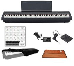 Yamaha P125B Black 88 Weighted Keys Digital Piano Keyboard Bundle with Juliet Music Piano Dust C ...