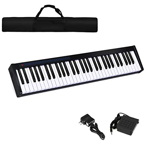 Costzon 61-Key Portable Weighted Key Digital Piano, Upgraded Premium Electric Keyboard W/Carryin ...