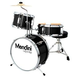 Mendini by Cecilio 13 inch 3-Piece Kids/Junior Drum Set with Throne, Cymbal, Pedal & Drumsti ...