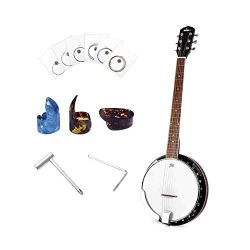 6-String Banjo 24 Bracket with Closed Solid Wood Back, Banjo Beginner Kit with Picks and Extra S ...