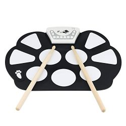 Vazussk Portable USB Electronic Roll up Drum Pad Kit Silicon Foldable Drum Set with Stick Foot S ...