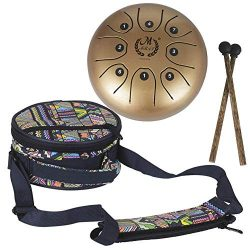 PROKTH 5.5 Inch Mini Steel Tongue Drum Handpan Brahma Drum Concert Percussion