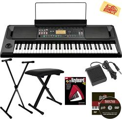 Korg EK-50 Entertainer Keyboard Bundle with Adjustable Stand, Bench, Sustain Pedal, Instructiona ...