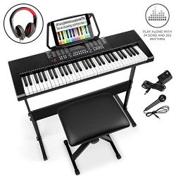 Best Choice Products 61-Key Beginners Electronic Keyboard Piano Set w/LED Screen, Recorder, 3 Te ...