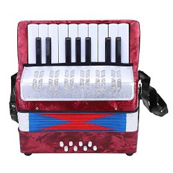Accordion, Mini Small 17-Key 8 Bass Accordion Educational Musical Instrument Toy for Beginner Ea ...