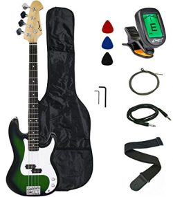 Crescent Electric Bass Guitar Starter Kit – Translucent Green Color (Includes CrescentTM D ...