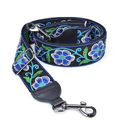 CLOUDMUSIC Banjo Strap Jacquard Woven With Leather Ends And Metal Clips (Blue Flowers In Black)