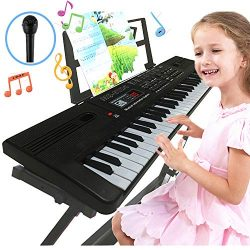 Semart piano keyboard for kids 61 key electric digital music keyboard for beginner portable pian ...