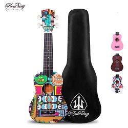 honsing Soprano Ukulele, Hawaii Guitar Uke for Beginner, Doodle Tattoo with Gig Bag