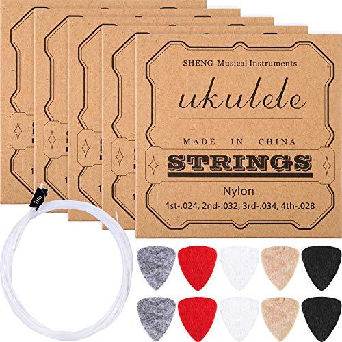 Nylon Ukulele Strings with Felt Ukulele Picks for Soprano (21 Inch)/ Concert (23 Inch)/ Tenor (2 ...