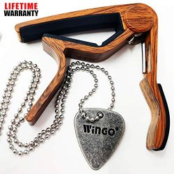 WINGO Quick Change Wooden Guitar Capo for Acoustic Guitar, Electric Guitar,Bass,Ukulele- Rosewoo ...