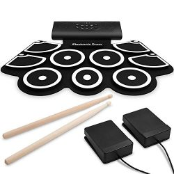 9 Pads Electronic Drum Set, Roll Up Drum Kit with Headphone Jack, Built-In Speaker and Rechargea ...