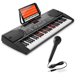 Hamzer 61-Key Electronic Keyboard Portable Digital Music Piano with Lighted Keys, Microphone &am ...