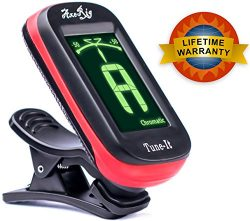 AxeRig Clip-On Chromatic Guitar Tuner for Acoustic, Bass, 6 & 12 string Guitars, Banjo, Mand ...