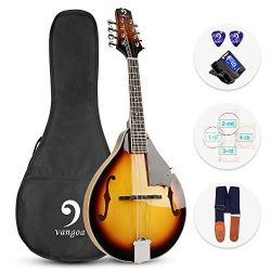 Vangoa A Style Mandolin Musical Instrument Sunburst, 8 String Acoustic Mandolin with Tuner, Stri ...