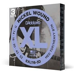 D'Addario EXL116 Nickel Wound Electric Guitar Strings, Medium Top/Heavy Bottom, 11-52, 3 S ...