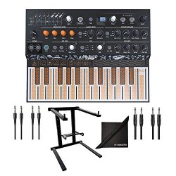 Arturia MicroFreak Hybrid Analog/Digital Synthesizer w/AxcessAbles Audio Cables, Laptop Stand an ...