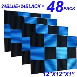 48 Pack Black blue 1″ x 12″ x 12″ Acoustic Wedge Studio Foam Sound Absorption  ...
