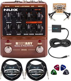 NUX Roctary Force Rotary Speaker Multieffect Pedal Bundle with Blucoil Slim 9V 670ma Power Suppl ...