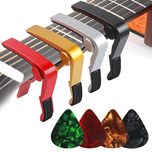 4PCS Guitar Capos for Acoustic and Electric Guitars Guitar Accessories Trigger Capo for Ukulele  ...