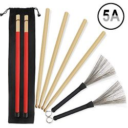 5A Drumsticks, 2 Pairs Classic Maple Drum Stick Sets With Retractable Wire Drum Brush and Profes ...