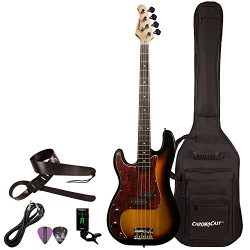 Sawtooth 4 String EP Series Electric Bass Guitar with Gig Bag & Accessories, w/Tortoise Pick ...