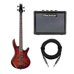 Ibanez 4-String Bass Guitar (GSR200SM) with FLY3 Bass Amp and Knox Guitar Cable (3 Items)
