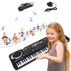 EOSAGA Keyboard Piano 61 Keys Kid Portable Keyboard Piano with Microphone, Portable Electronic K ...