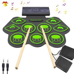 Electronic Drum Set – KONIX Bluetooth Electric Midi Drum Set Kit for Kids Beginner Portabl ...