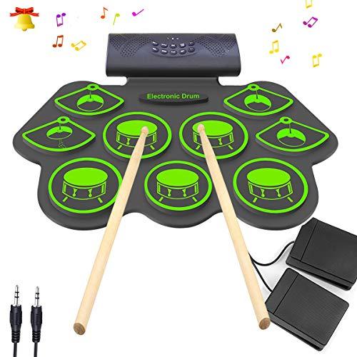 Electronic Drum Set – KONIX Bluetooth Electric Midi Drum Set Kit for Kids Beginner Portabl ...