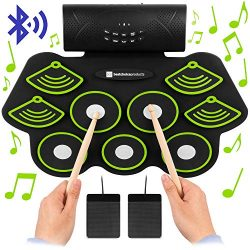 Best Choice Products 9 Pad Roll Up Bluetooth Electric Drum Set w/Headphone Jack, Speaker, Pedals ...
