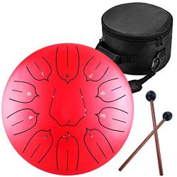 Steel Tongue Drum – 11 Notes 12 inches – Percussion Instrument -Handpan Drum with Ba ...