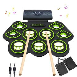Electronic Drum Set – MIDI Drum Practice Pads,Bluetooth Portable Roll Up Electric Drum kit ...