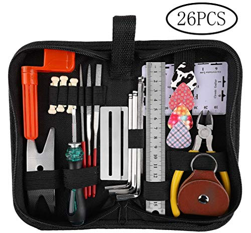 Guitar Repairing Tool Kit(26PCS) Wire Plier,String Organizer,Fingerboard Protector,Hex Wrenches, ...